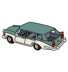 Old green and white station wagon vector