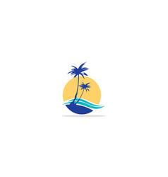 palm tree ocean beach logo vector image