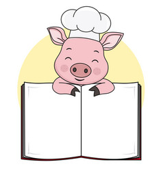Pig cook with blank book for text vector