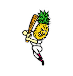Pineapple baseball batting mascot vector