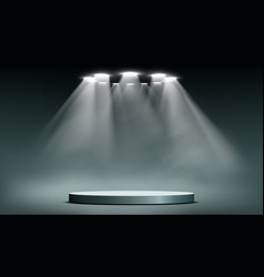 Podium with searchlights vector
