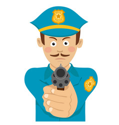 policeman with mustache holding a gun vector image