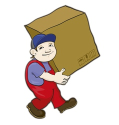 Porter carries a box vector image