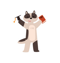 raccoon graduate student cute animal cartoon vector image