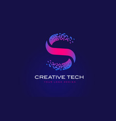 S initial letter logo design with digital pixels vector
