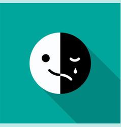 Sad and cheerful mood in one emoji vector
