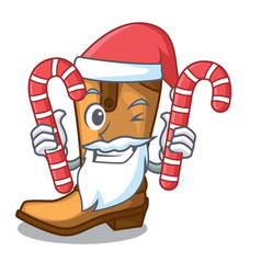 santa with candy leather cowboy boots shape vector image