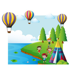 Scene with kids playing in park vector