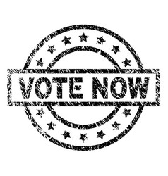 Scratched textured vote now stamp seal vector