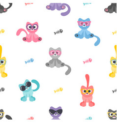 seamless pattern with cats with sunglasses and vector image