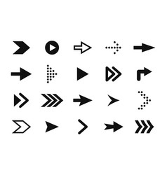 set arrows forward and back black arrow icons vector image