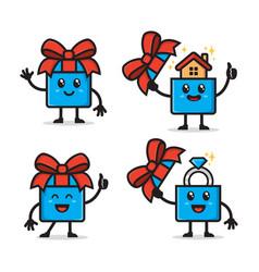 set gift box character design vector image