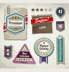 set grunge paper labels vector image