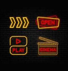 Set neon sign vector