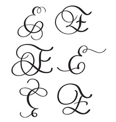 Set of art calligraphy letter e with flourish of vector