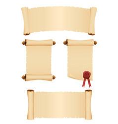 set old parchment scrolls vector image