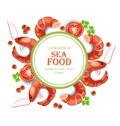 shrimps card realistic round frame seafood vector image