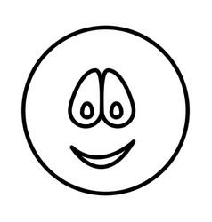Silhouette emoticon face smile expression vector