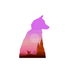 silhouette of wolf at sunrise landscape vector image