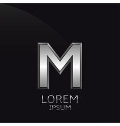 Silver M Letter emblem vector