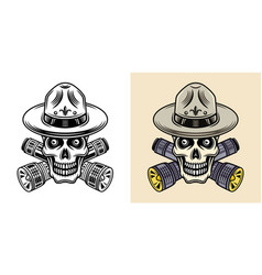 skull boy scout two styles black and colorful vector image