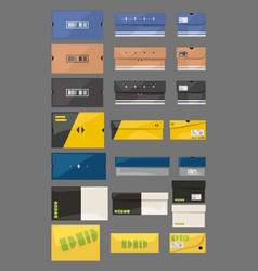 Sneakers boxes in set isolated on gray vector