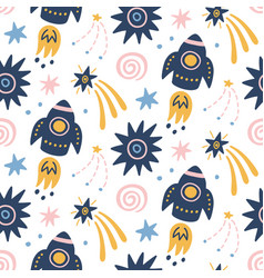 Space galaxy childish seamless pattern vector