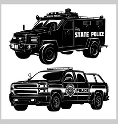 Special police cars - pickup truck and armored car vector