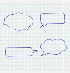 Speech bubbles doodle style blue hand drawn vector