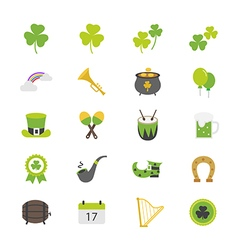 St Patricks Day Flat Color Icons vector image