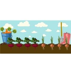 Stylized vegetables set background vector image