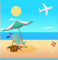 Summer beach umbrella chair beach ball plane backg vector