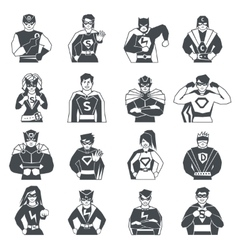 Superhero Black White Icons Set vector image