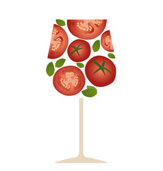 Tomato juice or cocktail slices and basil vector