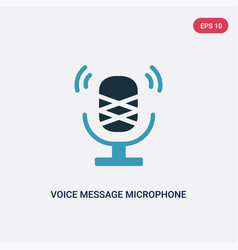 Two color voice message microphone button icon vector