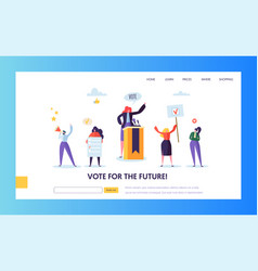 voting elections landing page template people vector image