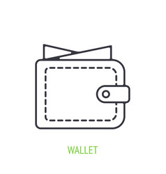 wallet with cash money outline icon vector image