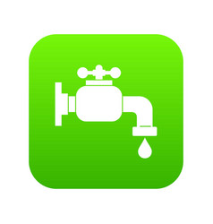 Water tap icon digital green vector