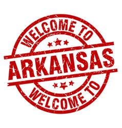 welcome to arkansas red stamp vector image