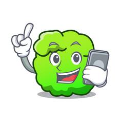 With phone shrub character cartoon style vector