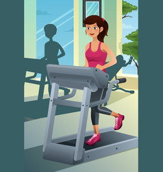 woman running on a treadmill in a gym vector image