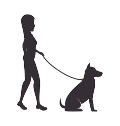 woman with dog isolated icon vector image
