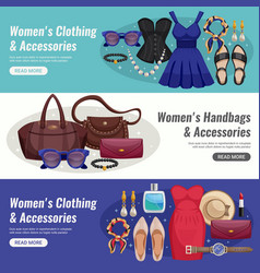 women accessories horizontal banner set vector image