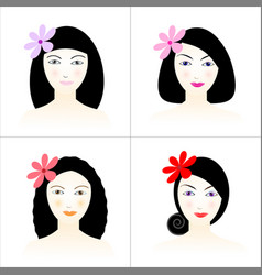 Women with beautiful hair and flowers vector
