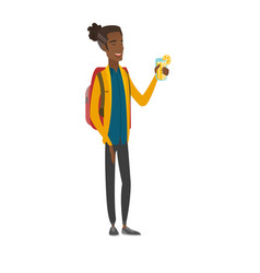 Young african-american traveler drinking cocktail vector