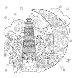 Cute lighthouse on christmas half moon vector image vector image