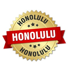 Honolulu round golden badge with red ribbon vector image