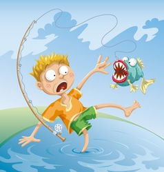 horrible fishing accident vector image