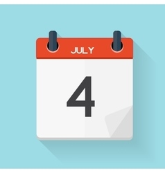 July 4 Calendar Flat Daily Icon vector image
