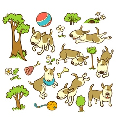 pattern with dogs vector image vector image